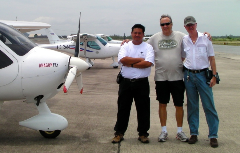 """Three Musketeers"" - Worawoot, Alonso, Dr. Rolf with the ""Red Dragon"" in U-Taphao - warming up for the Bang Phra Airshow"