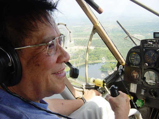 Adjan Krisda at the controls of the Wilga.